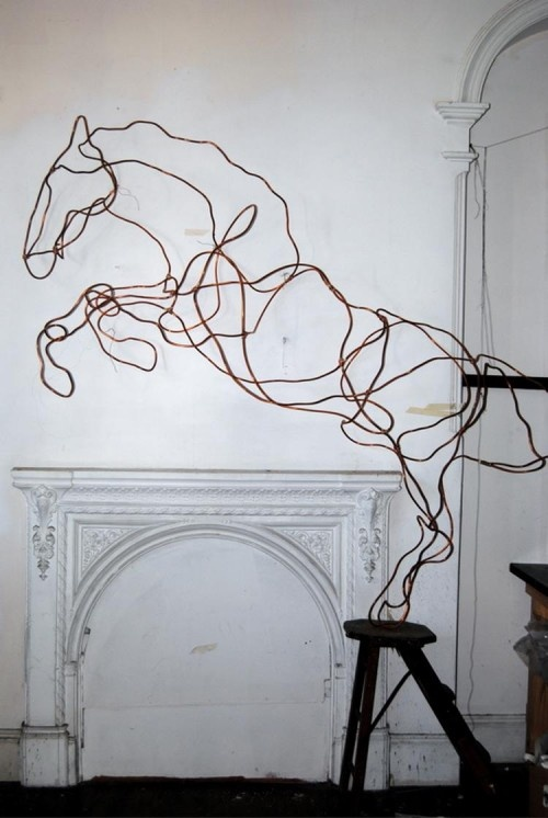 Very cool sculptural copper horse!  This would look best with good spot lighting against a white wall to show off all of the curves!