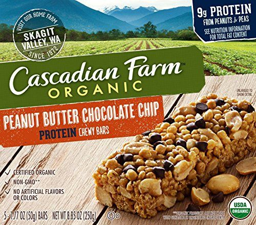 Cascadian Farm Snacks Protein Organic Chewy Granola Bars, Peanut Butter Chocolate Chip, 8.85 Ounce - http://goodvibeorganics.com/cascadian-farm-snacks-protein-organic-chewy-granola-bars-peanut-butter-chocolate-chip-8-85-ounce/