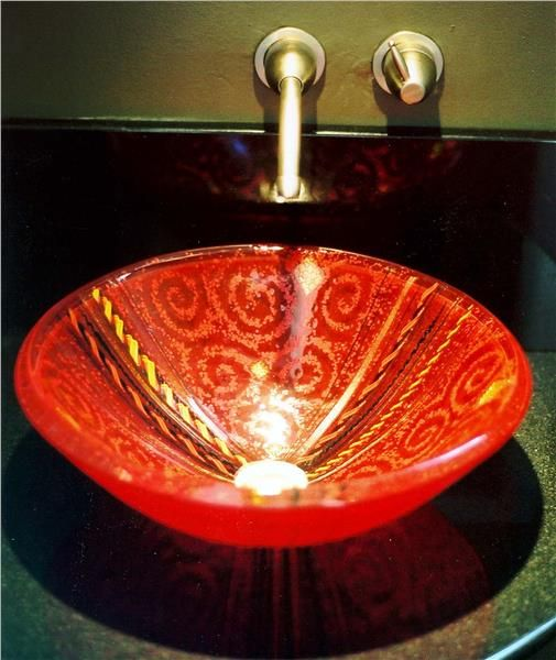 Red Venetian Glass Vessel Sink   SinksGallery.com