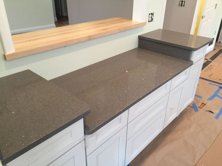Quartz , Grey Silestone With Silver Sparkles For Kitchen Countertops . Very  Special Color , With