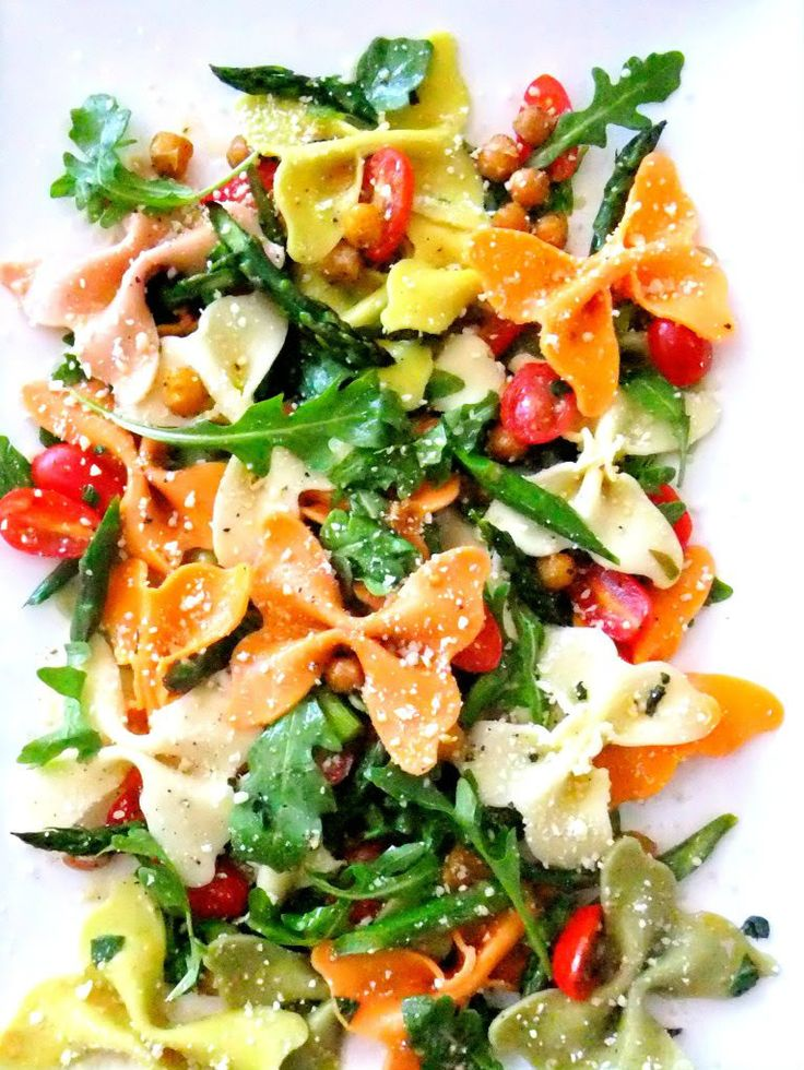 Farfalle Pasta Salad with roasted chick peas and asparagus