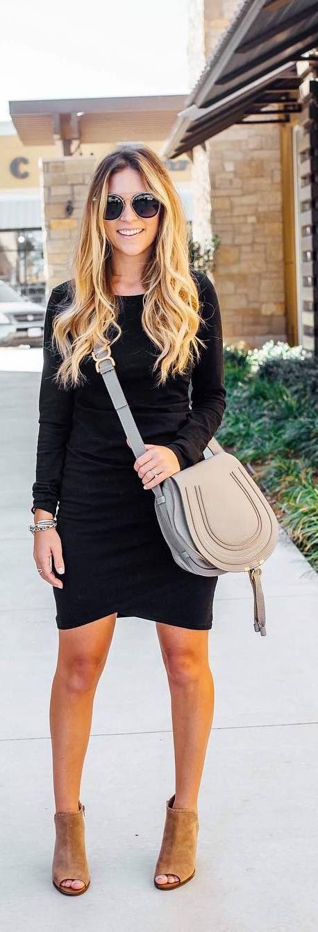 #fall #outfits black pencil dress heels