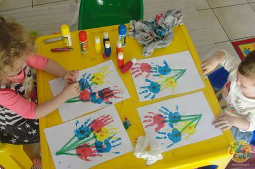 Hand painting is a great activity that promotes body awareness.  Make hand print flowers with different colours and decorate with heart shaped stamps!