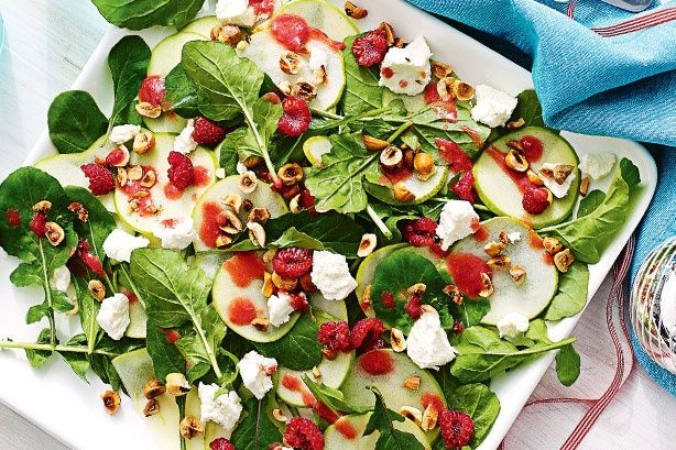 A simple gourmet salad, guaranteed to impress with a surprising combination of apple, raspberry, honey, rocket and goat's cheese.