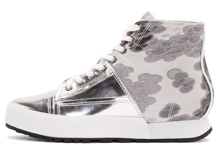 Silver Textile & Leather Cloudy High-Top Sneakers by Miharayasuhiro. Ankle-high textile sneakers in tones of grey. Round toe. White lace-up closure. Metallic silver buffed leather paneling at front. White leather piping at heel counter. Cloud pattern woven throughout textile paneling. White layered sole walls. http://zocko.it/LD2sy