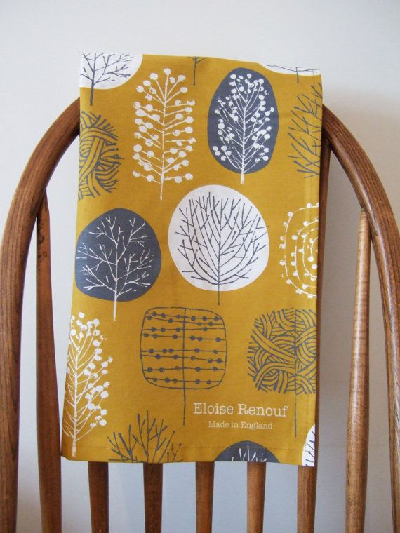 Trees Tea Towel in Mustard and Charcoal by EloiseRenouf on Etsy