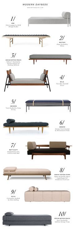 Contemporary living room furniture, designer daybeds, scandinavian design