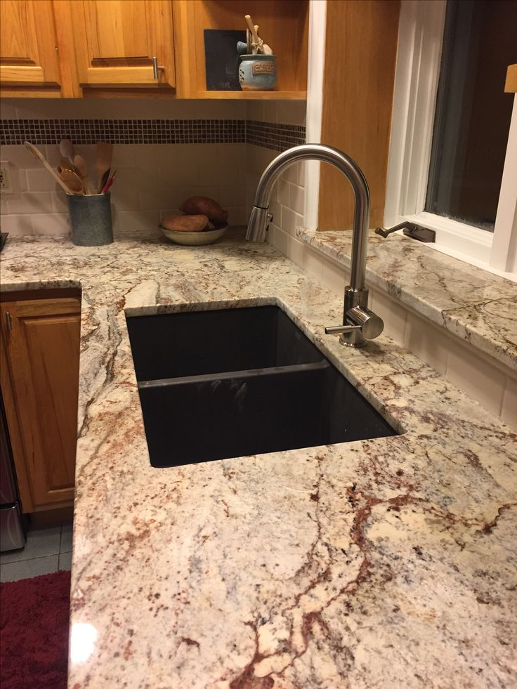 Sienna Bordeaux Granite, Almond Subway Tile With Icy Red Mini Mosaic. Blanco  Sink In Cinder And Stainless Blanco Faucet.