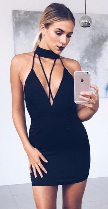 #spring #outfits  Black Lustre Satin Choker Dress ✔