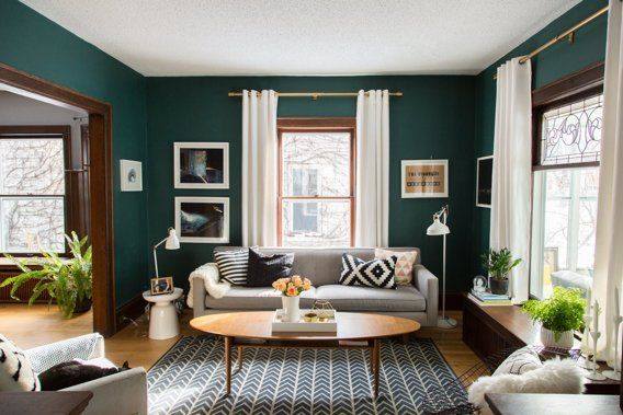 Coffee table + paint color - House Tour: Chill Scandinavian Meets Mid-Century Style | Apartment Therapy