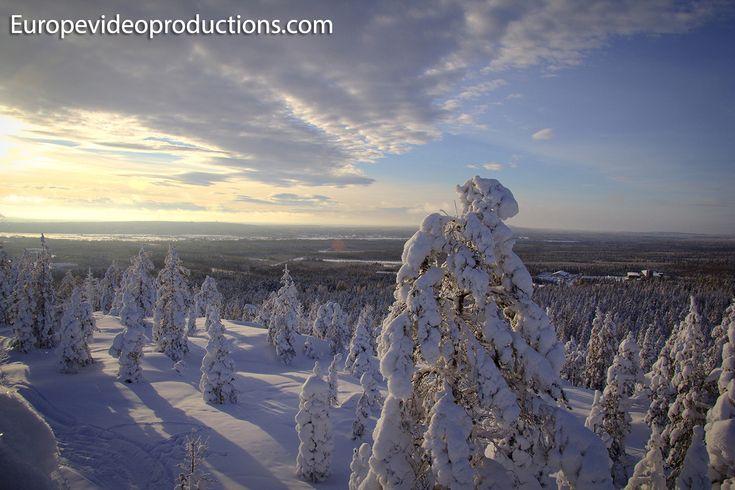 Invierno en Rovaniemi en Laponia, Finlandia