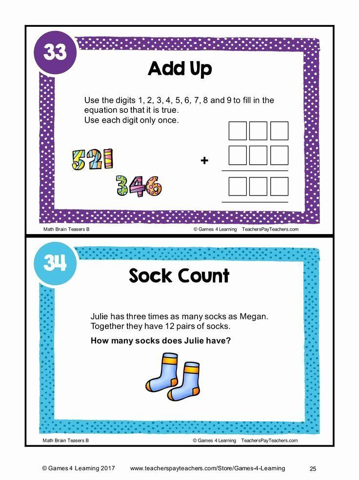 3rd Grade Brain Teasers Printable Math Task Cards Math Problems And Math Brain Teasers Cards Math Task Cards Brain Teasers Math Tasks 3rd grade brain teasers printable