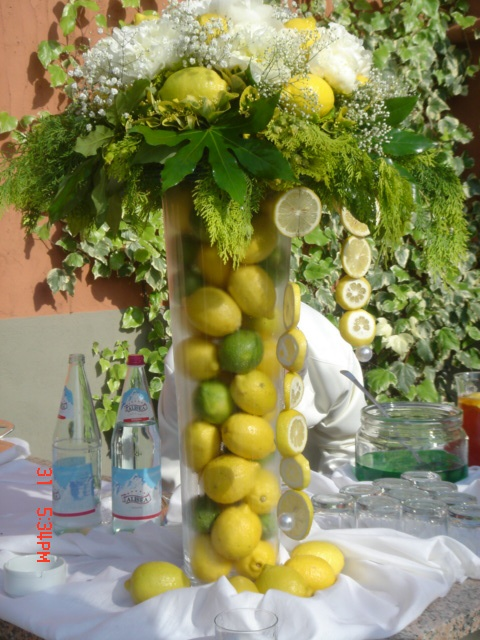 Fruit and flowers make a terrific table decor at a friends Tuscan wedding...