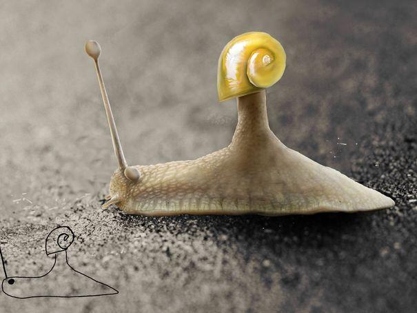 L'escargot de Telmo - Telmo, artiste néerlandais, recrée ses dessins d'enfance grâce à Photoshop ! - L'EXPRESS