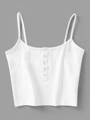 d39bd5fcb57e Cropped Snap Button Tank Top - White S | Clothes in 2019 | Tank top ...