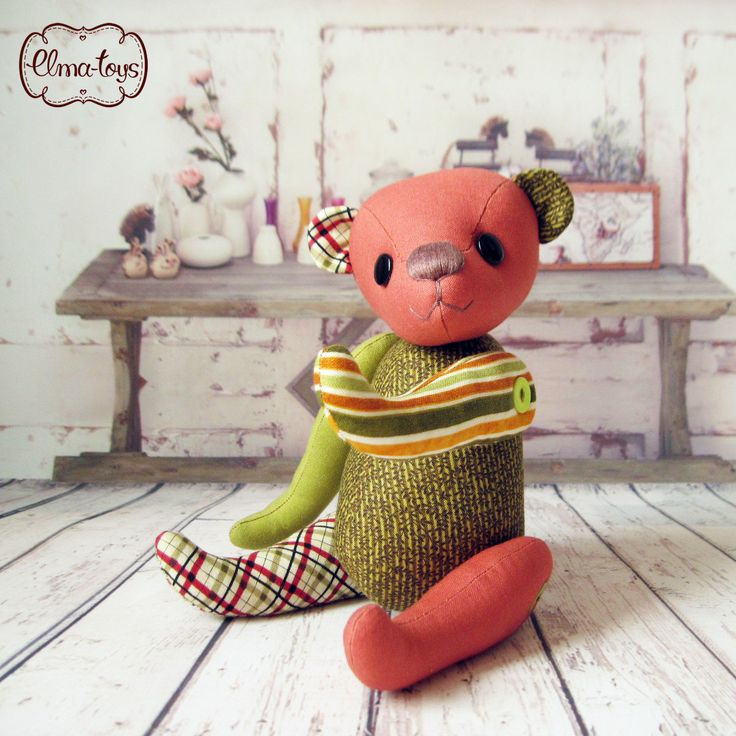 Handmade Toy bear. Toy for baby. gift for baby. Teddy Bear Cotton. by Elmatoys on Etsy