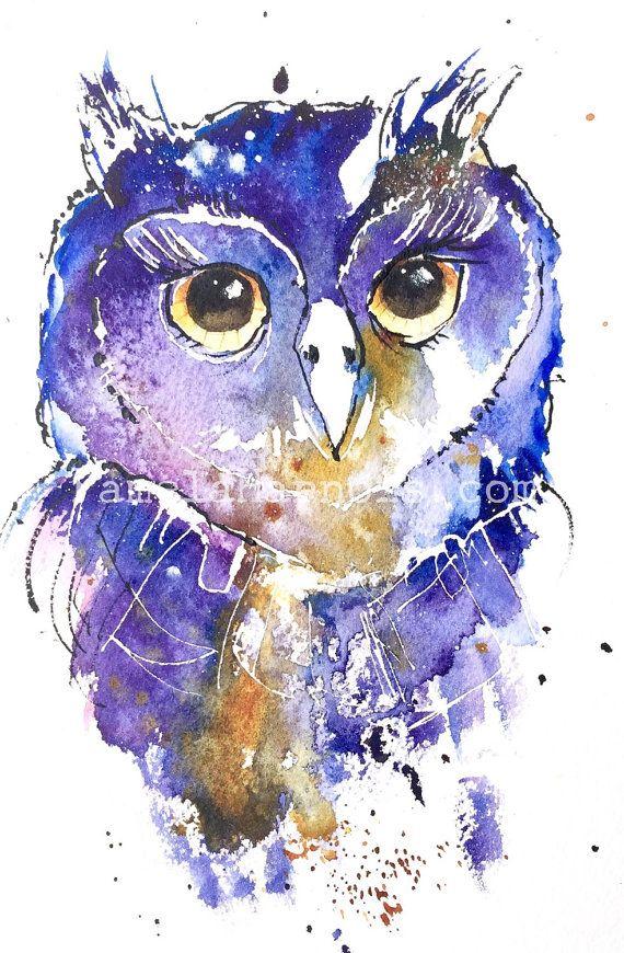 Owl Art Chouette Imprimerie Art Pourpre Art Aquarelle