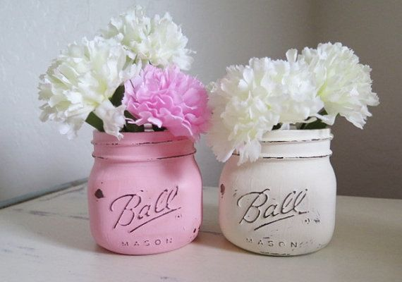 *** Pink and White ***  *Twine included around tops of jars, just not pictured. Elite Style Pint Size Mason Jars. While these jars are still the