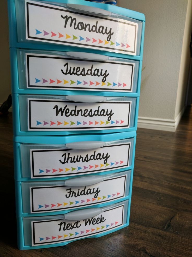 Weekly organization labels for classroom Sterlite drawers!!