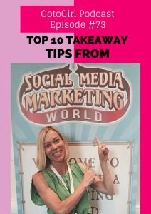 I gleaned amazing tips and met inspirational people at the Social Media Marketing World Conference in San Diego.  I'm excited to share 10 of the Top Ten Takeaways with you in this Podcast.  Simply read on for the key points and click the player above to listen to the 30 minute audio podcast. Ten Top Take Away from Social Media Marketing World