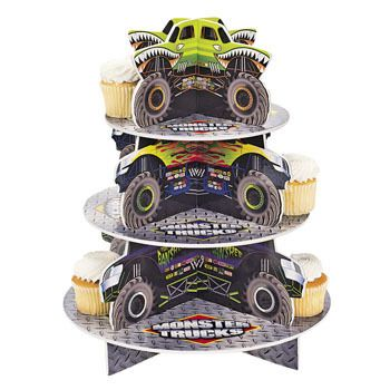 1 MONSTER TRUCK Decoration Party CUPCAKE Holder Stand Centerpiece Tableware just ordered one for Jaysons party!!