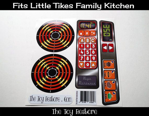 New Replacement Decals Stickers For Vtg Little Tikes Tykes Family Kitchen Bright Colors Kitchen Decalshome Printerskids