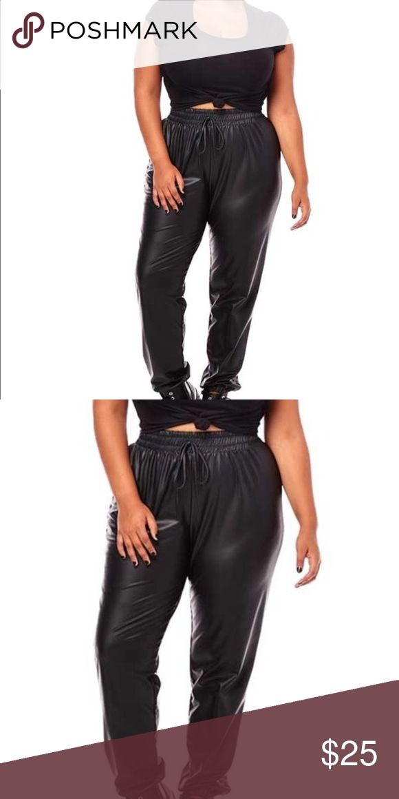 PLUS SIZE FAUX LEATHER HIGH WAIST JOGGERS PANTS Faux leather, cuffed, jogger pants with drawstring detail    95% POLYESTER 5% SPANDEX  HAND WASH COLD  DO NOT BLEACH!  HANG DRY  MADE IN THE USA Pants Track Pants & Joggers