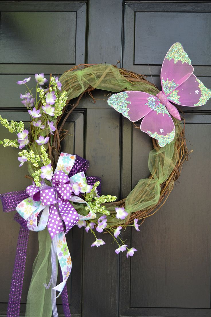 Spring Wreath - Easter Wreath - Spring Wreath with Butterfly - Easter Decoration. $125,00, via Etsy.