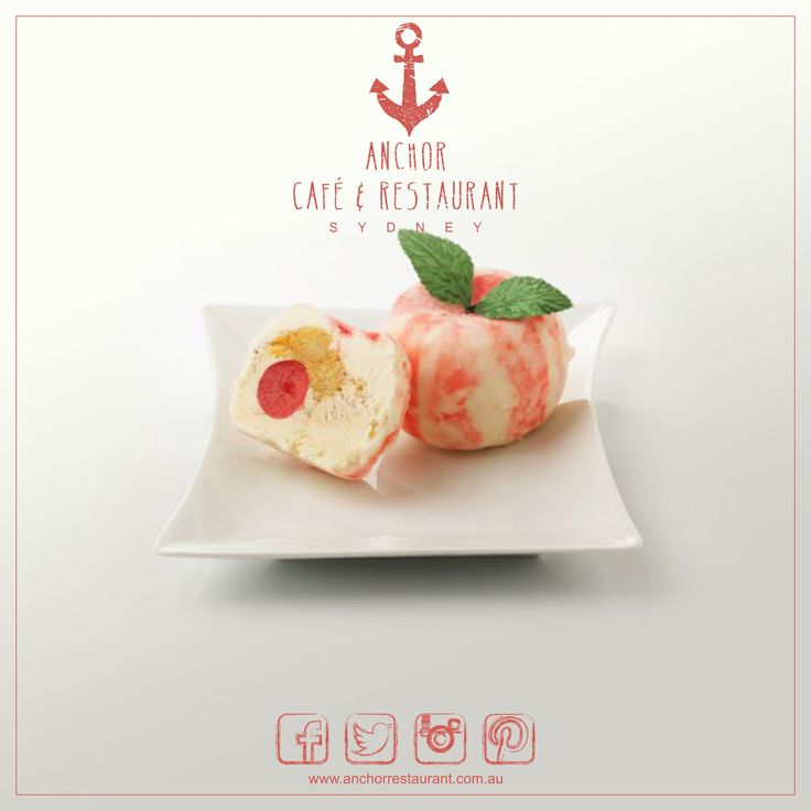 Adam's Apple  Gelato Desserts ⚓ ANCHOR Cafe & Restaurant - Taste the difference! Apple zabaione flavoured gelato with a centre of coffee cream & liqueured sponge and a cherry engulfed in a layer of rich white chocolate. #anchor #anchorcafe #anchorrestaurant #anchorestaurant #milsonspoint #kirribilli #lavenderbay #northsydney #northshore #mosman #adamsapple #apple #coffee #coffeecream #chocolate #whitechocolate #liqueur #liquer #gelato #cream #cherry #cherries #dessert #food #yum #icecream