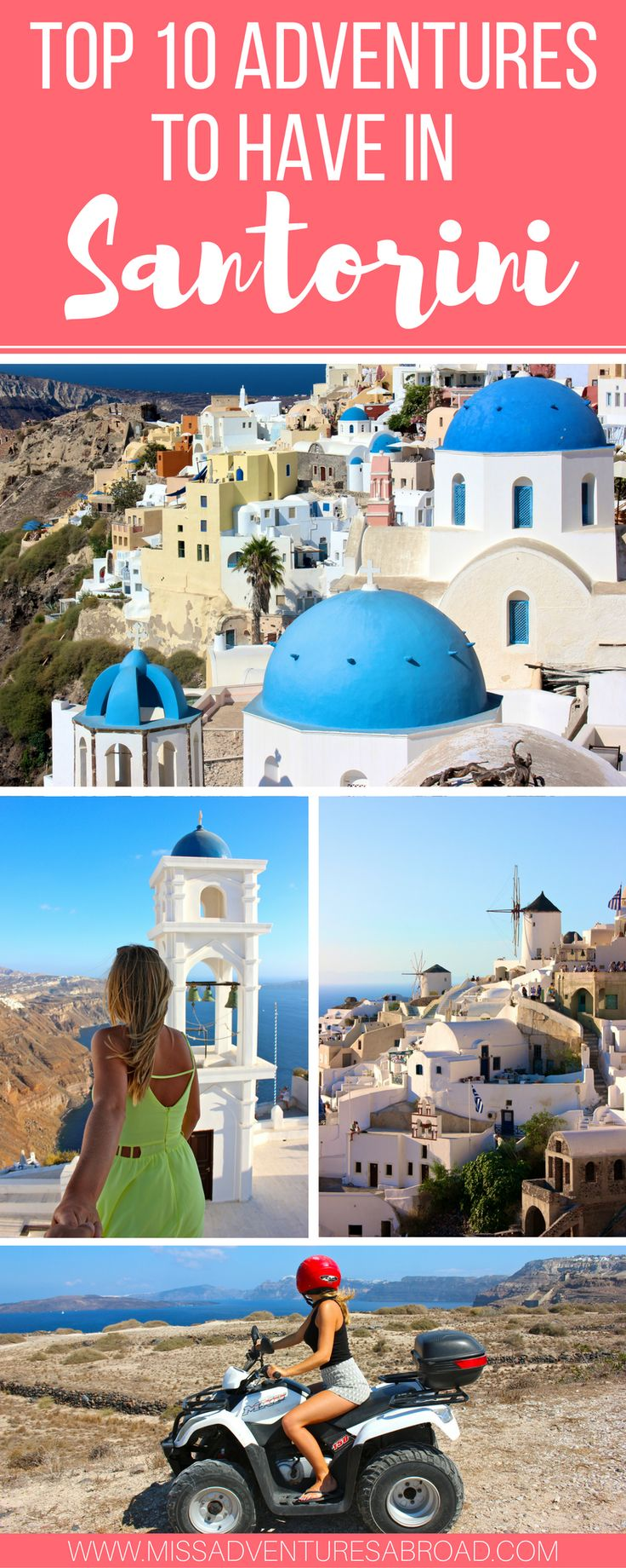Top 10 Unforgettable Experiences To Have In Santorini | The top 10 things to do in Santorini, from ATV rides to cliff jumping, to day trips and volcano exploring! There are tons of adventures to have in Santorini, Greece.