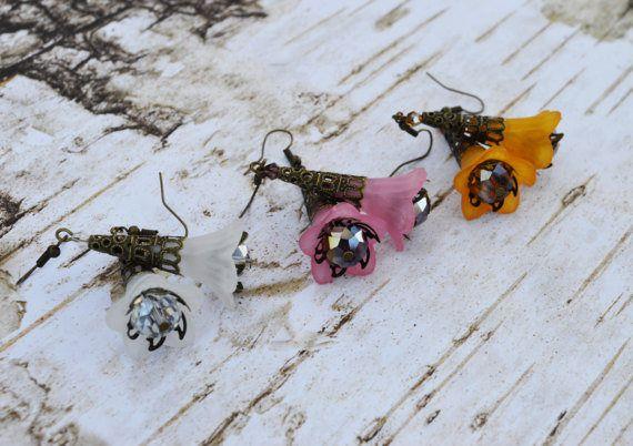SALE  Bell Flower Earrings Vintage Inspired Pink Lucite