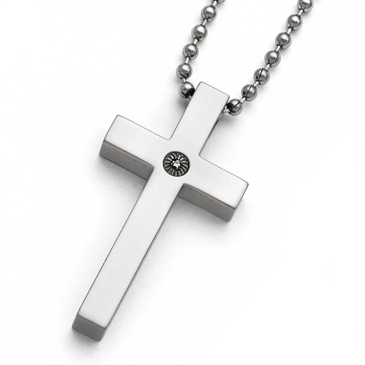 Chisel Polished 1/2pt. Diamond Cross Necklace - 22 in, Men's