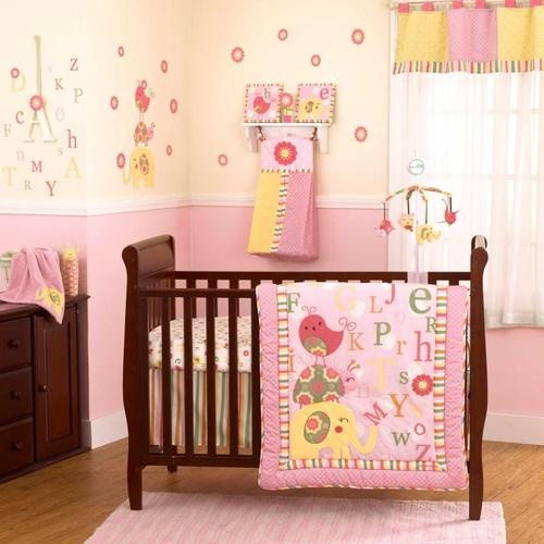 Pink ABC Alphabet Animal Themed Baby Girls 4P Lady Bugs Nursery Crib Bedding Set | eBay