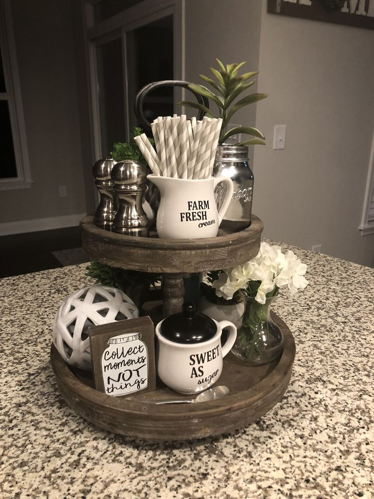Target rustic 2 tier tray. Farmhouse kitchen decor.