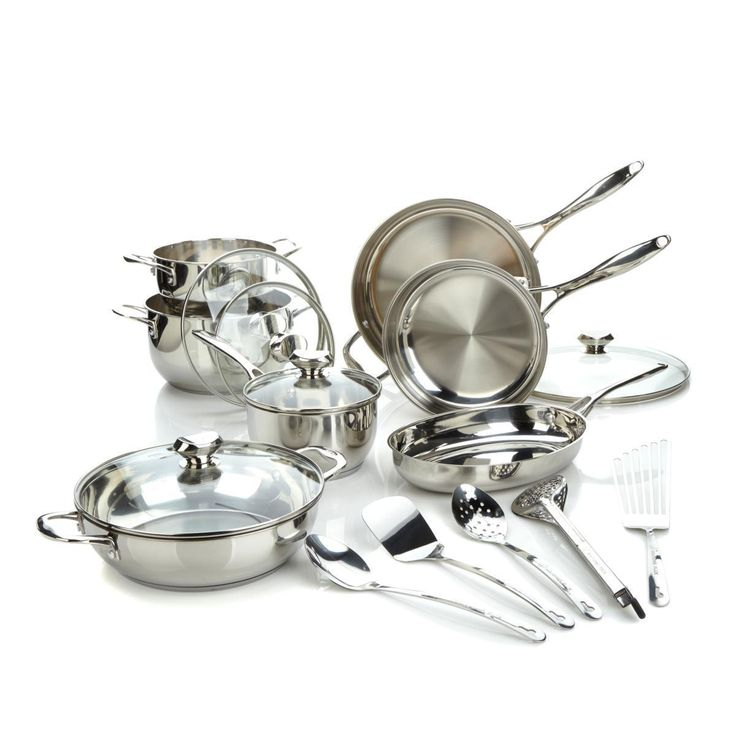 Refurbished Wolfgang Puck Bistro Elite 17-piece Stainless Steel (Silver) Cookware Set (Stainless)