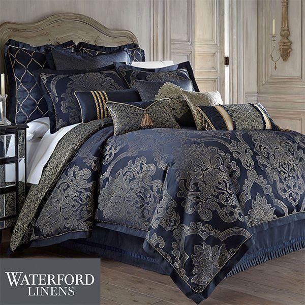 Waterford Linens Blue Comforter Sets, Navy Blue Damask Bedding