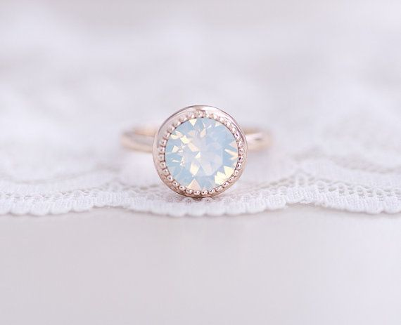 White Opal Rose Gold Ring by CocoroJewelry