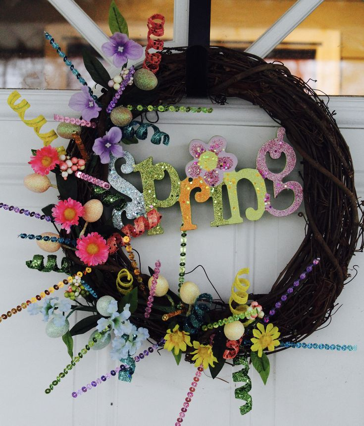 Spring Wreath, Bright, Cheerful, Grapevine Wreath, Easter, Flowers, Floral Wreath, Easter Eggs, Summer Wreath, Front Door, Spring Decor http://etsy.me/2CdhXlX #housewares #homedecor #pink #easter #rainbow #entryway #spring #springwreath #blue #GlitterDazzleSparkle