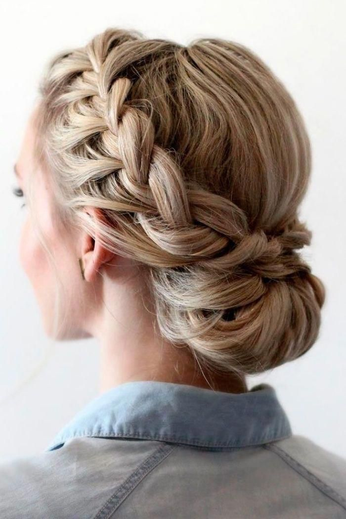 blonde hair, with highlights, in a low updo, braided bun, prom hairstyles for short hair, denim shirt #shorthair