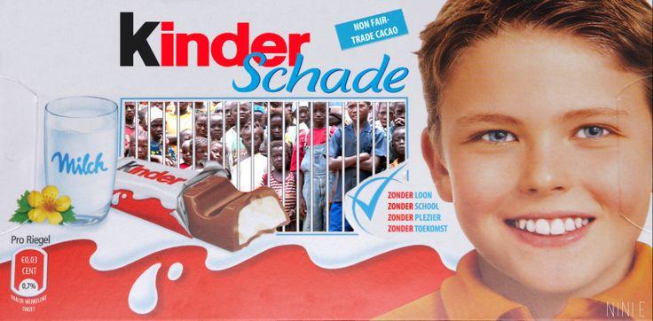 Grafische Vormgeving / Protest Opdracht / Akademie Vogue #kinder #chocolade #schade #arbeid #kindslaven #ivoorkust #cacao #adbusters #nini.e #protest #www.facebook.com/ninaelenbaas