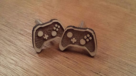 Video game controller cufflinkswooden ideal for by Heavenlyextras