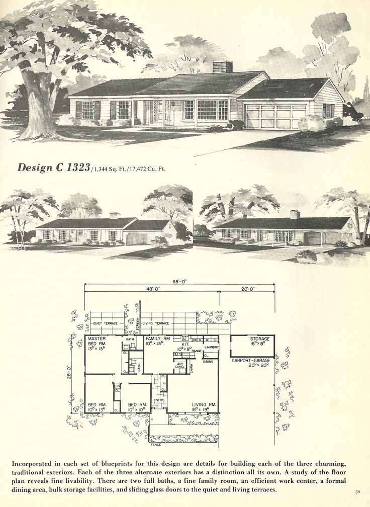 1253 best prints of peace images on pinterest floor for 1960 ranch house floor plans