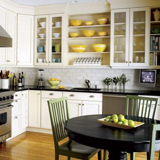 Eat in kitchen--like the color scheme here, and the open shelves!!: Kitchens Design, Open Shelves, Open Cabinets, Black Tables, Open Kitchens, Green Chairs, White Cabinets, Kitchens Cabinets, White Kitchens