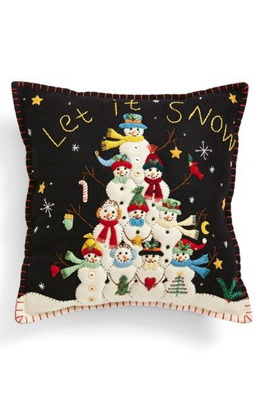 "Free shipping and returns on New World Arts 'Snowman Pyramid - Let It Snow' Accent Pillow at Nordstrom.com. An appliquéd and embroidered Christmas accent pillow featuring friendly snowmen and the command, ""Let It Snow,"" adds a charming, homespun feel to your holiday décor."