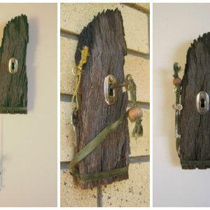 Materials used: recycled timber – found at the beach, lock & key, old screws, hook, wooden bead, ribbon. https://www.rawroughrecycled.com
