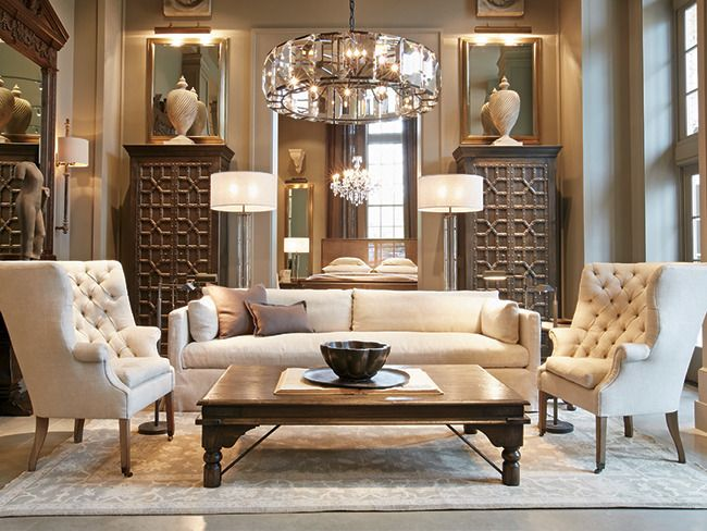 restoration hardware living room rooms decorated focuses on home rh