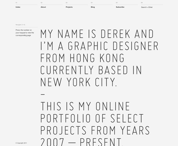 Personal web site for graphic designer Derek Chan