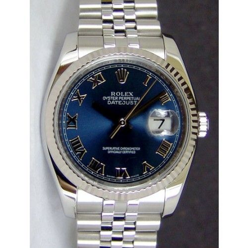Rolex Datejust Steel Gold Blue Roman Dial 116234 Jubilee Watch
