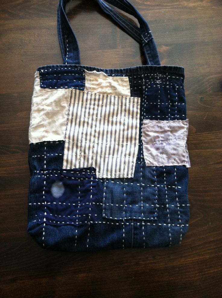 Bag At You Fashion Blog Hip E Bags White Backpack: Boro-style Tote Bag. Upcycled Denim, Treated Textiles