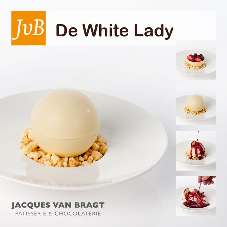 De white lady witte chocolade bal gevuld met sinaasappel parfait frisse yoghurt crumble en een - Sterke witte werpen en de bal ...